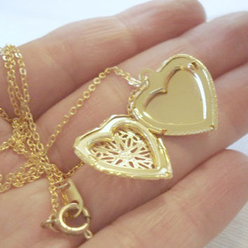 Heart Locket Necklace Gold Heart Necklace Valentines Day Necklace Gold Heart Pendant Jewelry Personalized Necklace