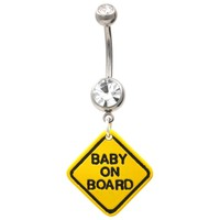 Baby On Board Yellow Road Sign Belly Ring
