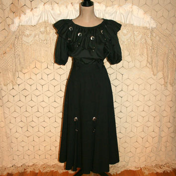 80s Western Dress Square Dance Cowgirl Black Skirt Peasant Top Conchos Peasant Dress Long Full Skirt Womens Clothing 1980s Vintage Clothing