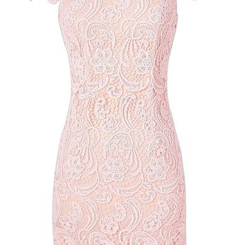 Lily Boutique Pale Pink Crochet Lace Capsleeve Pencil Dress, Pale Pink Crochet Lace Dress, Pale Pink Lace Summer Dress, Nila Crochet Lace Capsleeve Pencil Dress in Pale Pink Lily Boutique