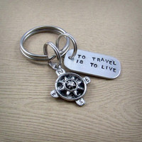 To Travel Is to Live Keychain - Travel Quote Key Chain - Hans Christian Andersen Quote - Compass Keyring - Graduation Gift for Traveler