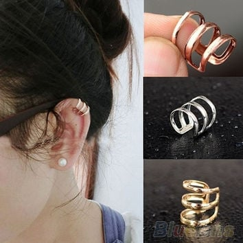 deals] Punk Rock Ear Clip Cuff Wrap Earrings No piercing-Clip On Silver Gold Bronze = 5988080577