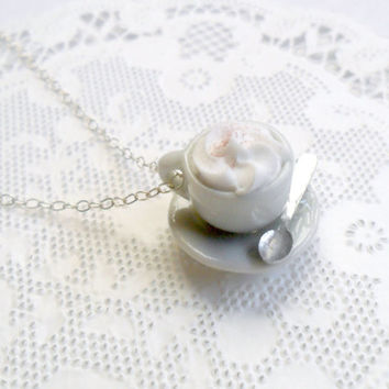 Mocha or Hot Cocoa Cup and Saucer Necklace, Whipped Cream, Kawaii, Choice of Sterling Silver, Stainless Steel, or Silver Plated Chain :)