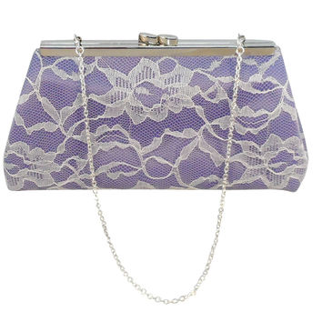Lavender, Ivory Lace and Silver Bridal Clutch