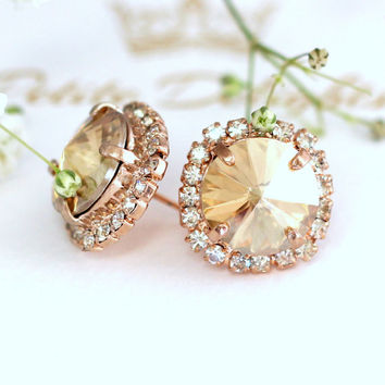 champagne Earrings, champagne Swarovski Bridal Earrings,Bridal champagne Earrings, Bridesmaids Earrings, Bridal Earrings, Crystal Studs