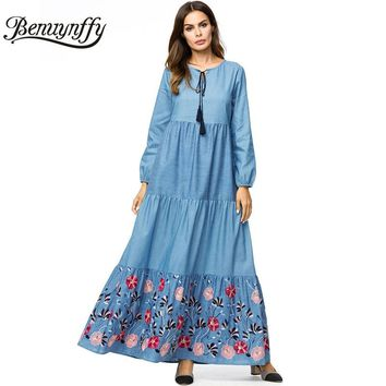 Benuynffy Tassel Tie Neck Long Sleeve Denim Dress 4XL Plus Size Autumn Women Casual O-neck Embroidery A Line Swing Maxi Dress