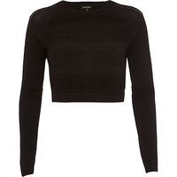 River Island Womens Black ripple mesh knitted crop top