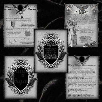 DARK MOON MAGICK, Digital Download,   5 Pages, Book of Shadows Pages, Grimoire, Scrapbook, Spell, Moon Correspondences, Moon Magick