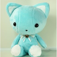 Cute Bellzi Teal w/ White Contrast Cat Plushie Doll - Kitti