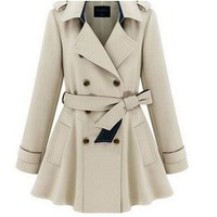 WIIPU Womens Double-breasted Coat long outwear Slim Fit Trench(JA71)
