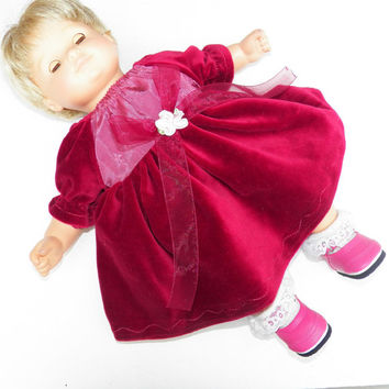 American Girl OR Bitty Baby Red Velour Peasant Dress with Satin bodice- Christmas Holiday Special Occasion