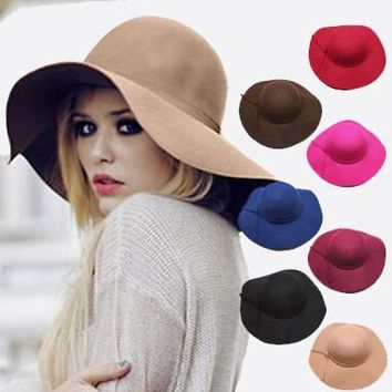 England Style Solid Spring Summer Hats for Women Fashion Outdoor Large Beach Sun Hat Candy Color Newest Casual Woman's Caps