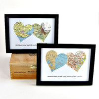 Personalized Map Art / Map Heart Art / Long Distance Relationship Gift / Gifts Under 25 /  1st Anniversary Gift / Gift for Boyfriend