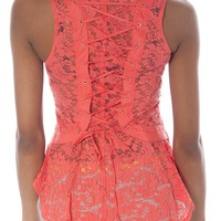 Corset Back Lace Top - Coral from Casual & Day at Lucky 21 Lucky 21