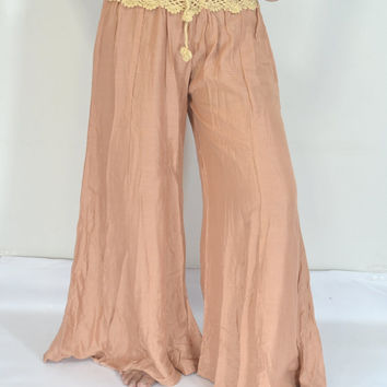 Long Lt.Brown beige Pants/Elegant crochet Pant/Crochet waist/elastic waist/Comfortable wear fit most/Trouser/Evening wear/Yoga pant/Thailand