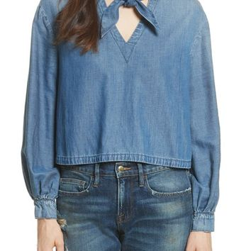 FRAME Tie Neck Denim Blouse | Nordstrom