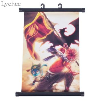 Lychee Anime Fairy Tail Wave Flag Poster Canvas Scroll Painting Home Wall Print Modern Art Decor Poster