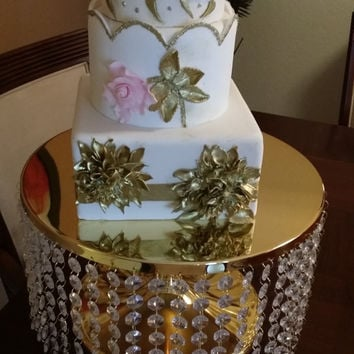 Wedding Cake Stand Crystal Cascade, 15'' Wedding Cake Stand, Gold or Silver Cake Stand, Wedding Decoration, Crystal Cupcake Stand Cake Stand
