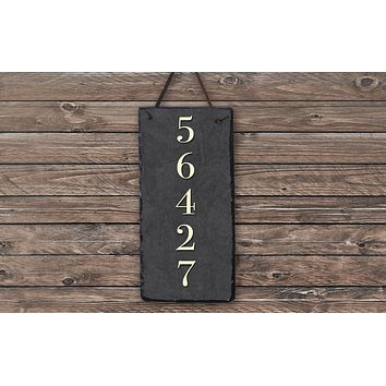 Handmade and Customizable Slate Home Number Sign - Tall House Number Plaque