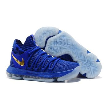 2017 Nike Mens Kevin Durant Kd 10 Royal Blue/gold Basketball Shoes - Beauty Ticks
