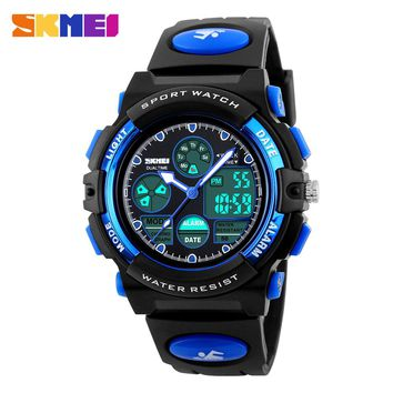 SKMEI Children's Watches Fashion Sport Military Waterproof Wristwatches Dual Time LED Digital Quartz Watch For Boys Girls Kids