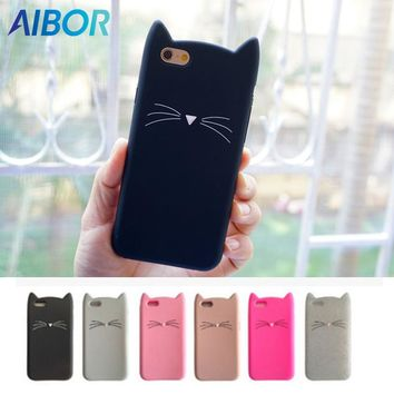 3D Cute Cartoon Cat Ear With Whiskers iPhone Case - Silicon Soft