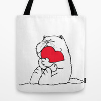 Persian Cat Heart Tote Bag by Huebucket