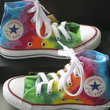 DCCK1IN youth sz 10 5 rainbow hand dyed converse hi top sneakers