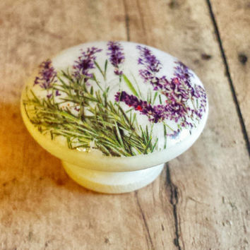 Handmade Lavender Flowers Knob Drawer Pulls, Birch Wood, Purple Floral Cabinet Pull Handles, Dresser Knobs, We Make Customized Orders