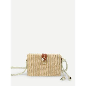 Lock Detail Straw Crossbody Bag