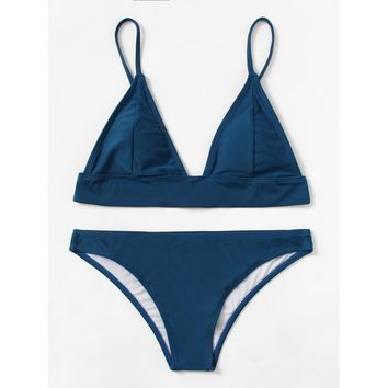 Women's Royal Blue Triangle Top Two Piece Swimsuit Bikini Set with Adjustable Straps