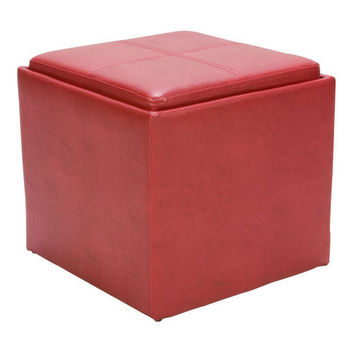 Ladd Collection Storage Cube Ottoman Red Bi-Cast Vinyl 4723RD Free Shipping