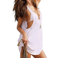 Sexy Women Candy Color V Neck Beach Wear Swimwear Bikini Cover Up Dress = 1958579460