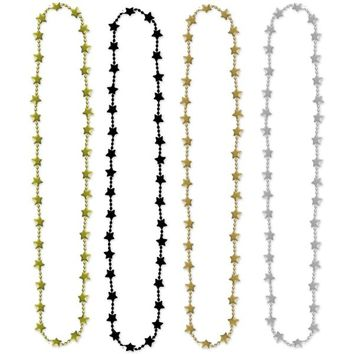 Metallic Black, Gold & Silver Star Bead Necklaces 4ct