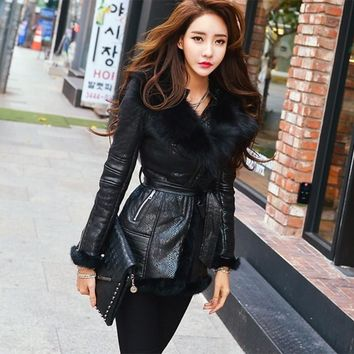 High-end Genuine Fox Fur Sashes Zipper Thick Studded Shoulder Pad Women's Long Winter Jacket Coat
