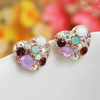 Colorful Hearts Rhinestone Fashion Earrings | LilyFair Jewelry