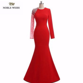 NOBLE WEISS Mermaid Evening Dresses High Quality Special Occasion Dresses Beading Long Red Formal Dresses With Long Sleeves