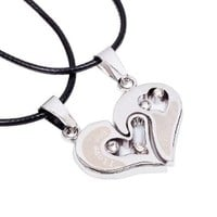 I Love You Interlocking His and Hers Charm Pendants on Handmade Leather Necklace
