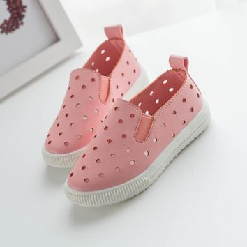 Girls Outdoors Shoes Leather Air Hole