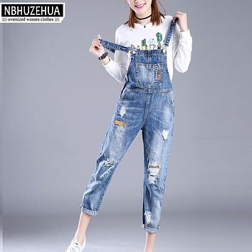 Full Sizes XXS-7XL Womens Jumpsuit Denim Overalls Women 2017 New Casual Strap Hole Ripped Jeans Plus Size Overalls 5XL 6XL K1208