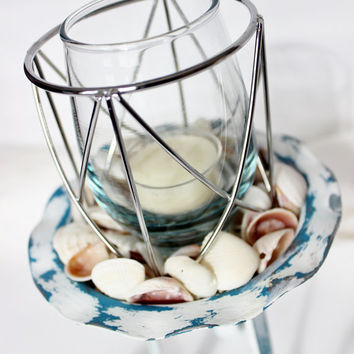 Distressed Nautical Candle Holder , Coastal  Decor and Beach House Decoration With Natural Shells
