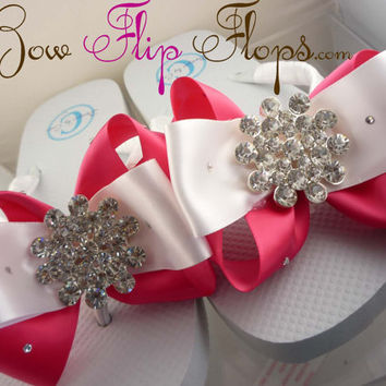 Bridal Flip Flops Jewel Rhinestone Satin Rhinestone Bow Wedding Bride Wedding Ribbon,  brides, bridesmaids