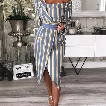 New Blue Striped Sashes Irregular One Shoulder Slit Cocktail Party Midi Dress