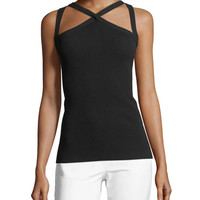 Michael Kors Collection Cross-Front Fitted Halter Top