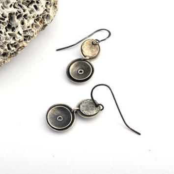 Small Sterling Silver Dangles, Geometric Earrings, Riveted Earrings, Silver Earrings