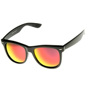 Large Classic Flash Mirror Color Lens Horn Rimmed Sunglasses