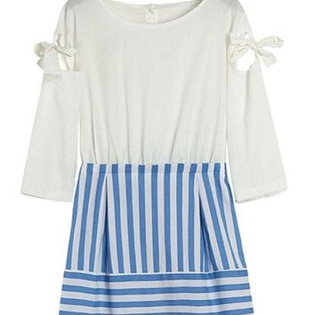 White Striped Bow Above Knee Dress