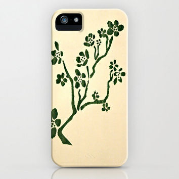 Tree iPhone Cases - original print pattern hand painted simple green cream beige nature hipster Samsung Galaxy cell phone iPod accessory