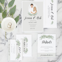 Greenery Wedding Invitations with Olive Leaves and Couple Portrait for Modern Wedding Invite Set from Miss Design Berry