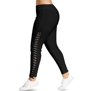 Plus Size Lace Up Casual Skinny Leggings